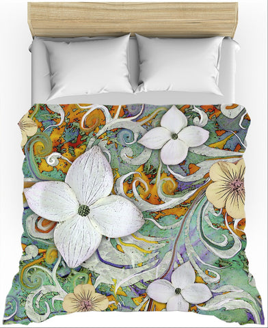 Spring Turquoise and Orange Floral Duvet Cover - Sangria Flora - Fusion Idol Arts