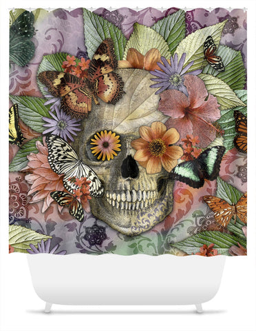 Butterfly Botaniskull Shower Curtain - Floral Sugar Skull Art - Shower Curtain - Fusion Idol Arts - New Mexico Artist Christopher Beikmann