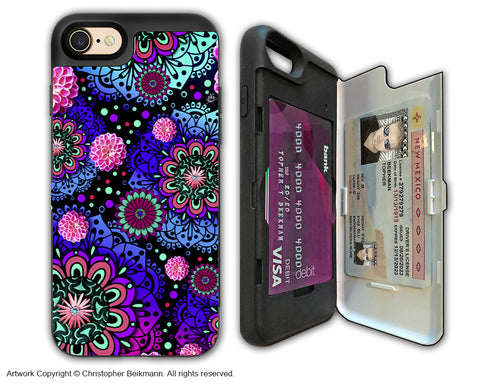 Colorful Modern Paisley - Artistic Apple iPhone 7 Card Holder Case - Protective Wallet Case - frilly floratopia - iPhone 7 Card Holder Case - Fusion Idol Arts - New Mexico Artist Christopher Beikmann