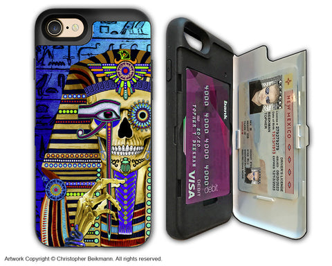 Egyptian Pharaoh Skull - Artistic Apple iPhone 7 Card Holder Case - Protective Wallet Case - funky bone pharaoh - iPhone 7 Card Holder Case - Fusion Idol Arts - New Mexico Artist Christopher Beikmann