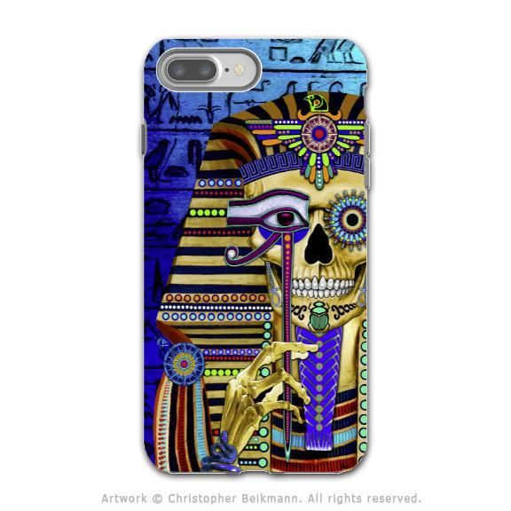 Egyptian Pharaoh Sugar Skull - iPhone 8 PLUS Tough Case - Dual Layer Protection - Funky Bone Pharaoh - iPhone 8 Plus Tough Case - Fusion Idol Arts - New Mexico Artist Christopher Beikmann