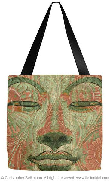 Green and Orange Buddha Face Premium Tote Bag - Manifestation of Mind - Tote Bag - Fusion Idol Arts - New Mexico Artist Christopher Beikmann