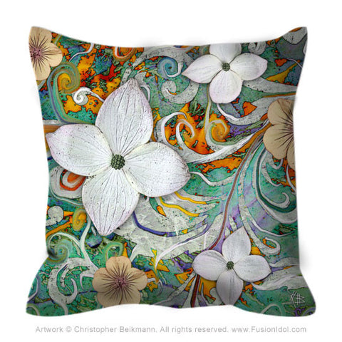 Green and Orange Dogwood Flower Throw Pillow - Sangria Flora - Throw Pillow - Fusion Idol Arts - New Mexico Artist Christopher Beikmann