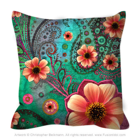Green and Orange Modern Floral Throw Pillow - Paisley Paradise - Throw Pillow - Fusion Idol Arts - New Mexico Artist Christopher Beikmann