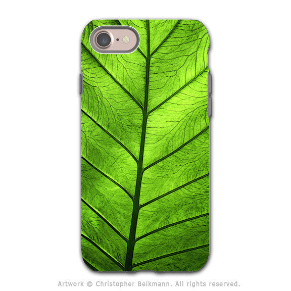 Green Leaf - Artistic iPhone 8 Tough Case - Dual Layer Protection - Leaf of Knowledge - iPhone 8 Tough Case - Fusion Idol Arts - New Mexico Artist Christopher Beikmann