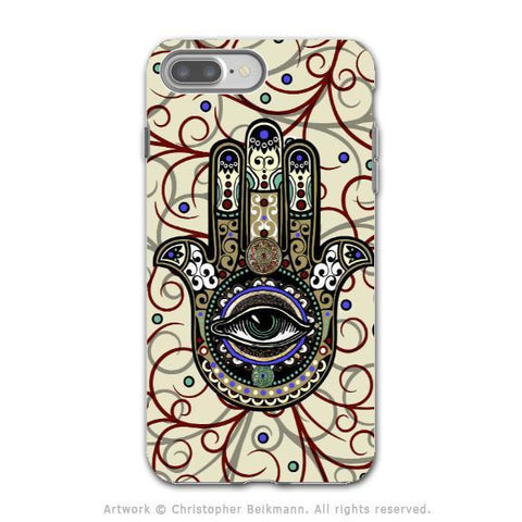 Hamsa Hand - Artistic iPhone 8 PLUS Tough Case - Dual Layer Protection - Sacred Defender Hamsa - iPhone 8 Plus Tough Case - Fusion Idol Arts - New Mexico Artist Christopher Beikmann