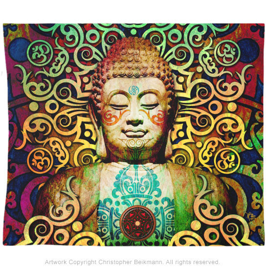 Tribal Buddha Tapestry - Heart of Transcendence - Tapestry - Fusion Idol Arts - New Mexico Artist Christopher Beikmann