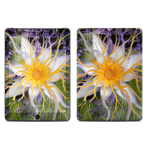 Bali Dream Flower - Purple, Green and Orange Lotus Floral Design - iPad AIR Vinyl Skin Decal - iPad AIR 1 SKIN - Fusion Idol Arts - New Mexico Artist Christopher Beikmann