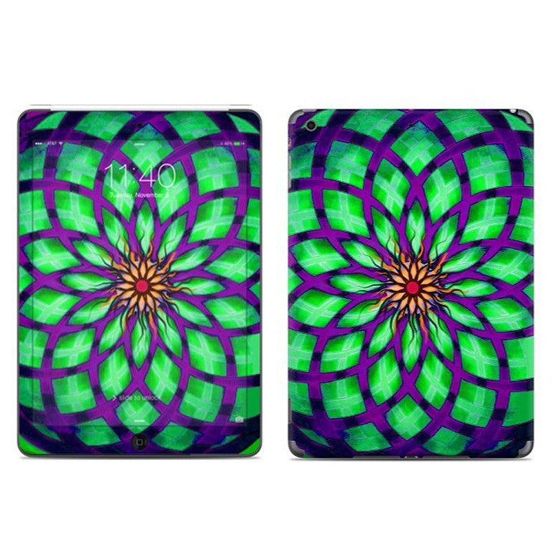 Kalotuscope - Purple and Green Geometric Lotus Floral Design - iPad AIR Vinyl Skin Decal - iPad AIR 1 SKIN - Fusion Idol Arts - New Mexico Artist Christopher Beikmann