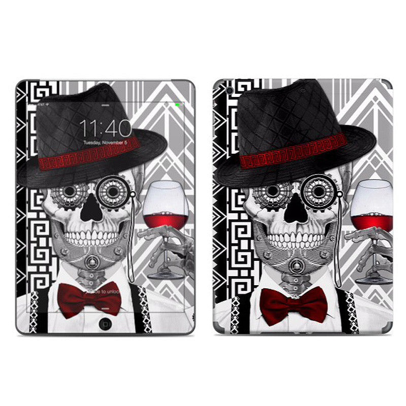 1920's Gentlemen Sugar Skull - Mr JD Vanderbone - Day of the Dead - Art Deco iPad AIR Vinyl Skin Decal - iPad AIR 1 - SKIN - 1