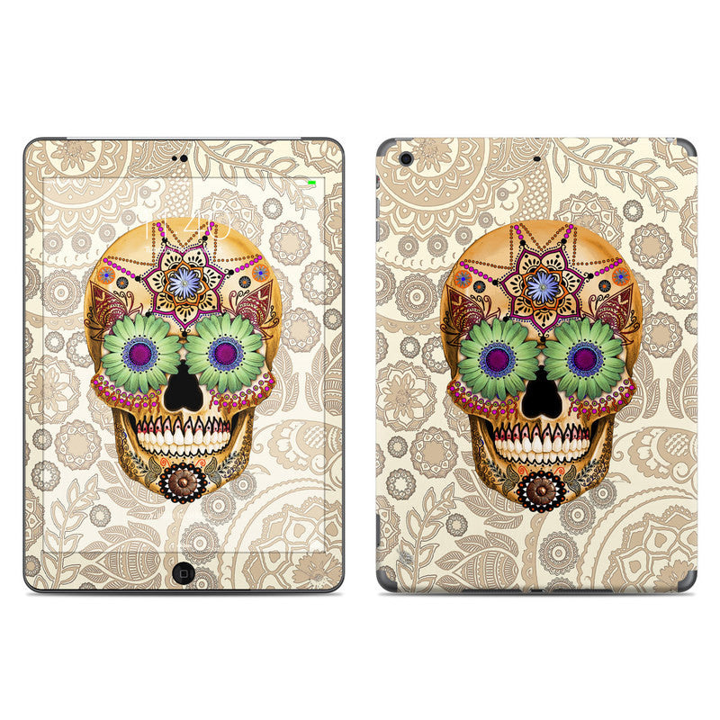Sugar Skull Bone Paisley - Day of the Dead - iPad AIR Vinyl Skin Decal - Fusion Idol Arts