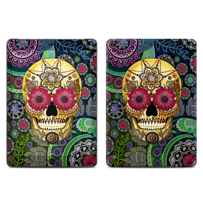 Colorful Sugar Skull Paisley Garden - Day of the Dead - iPad AIR Vinyl Skin Decal - iPad AIR 1 SKIN - Fusion Idol Arts - New Mexico Artist Christopher Beikmann