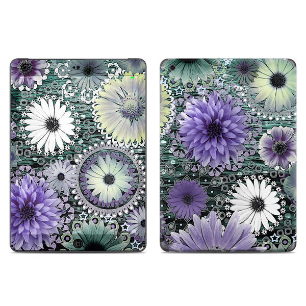 Tidal Bloom - Purple and Green Floral - iPad AIR Vinyl Skin Decal - iPad AIR 1 - SKIN - 1