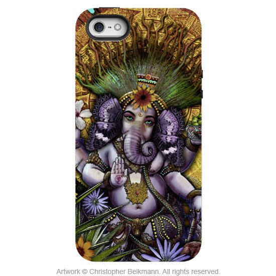 Ganesha iPhone 5s SE TOUGH Case - Ganesha Maya - Colorful Hindu-Mexican Floral Art Case for iPhone SE - iPhone 5 5s TOUGH Case - Fusion Idol Arts - New Mexico Artist Christopher Beikmann