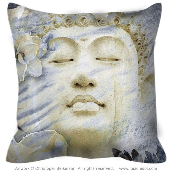 Buddha Throw Pillow - Blue and Tan Zen Accent Pillow - Inner Infinity - Throw Pillow - Fusion Idol Arts - New Mexico Artist Christopher Beikmann