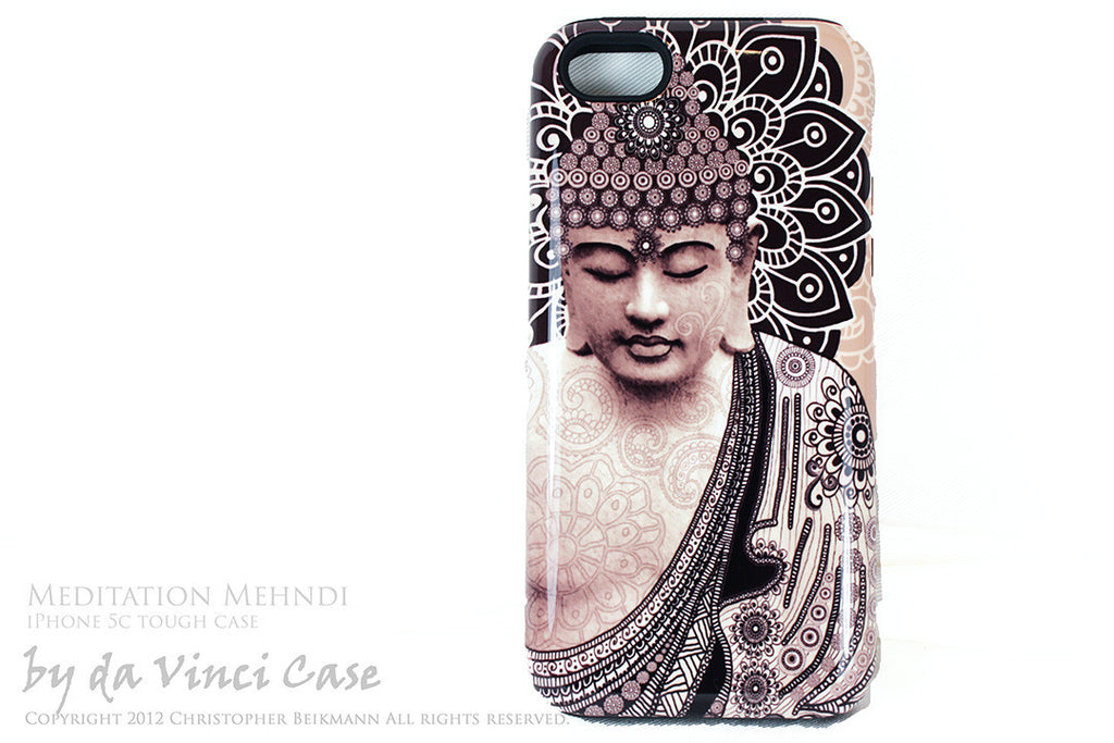 "Tan Paisley Buddha iPhone 5c TOUGH Case - Unique Buddhist Art ""Meditation Mehndi"" Zen Yoga iPhone 5c Case - iPhone 5c TOUGH Case - Fusion Idol Arts - New Mexico Artist Christopher Beikmann"