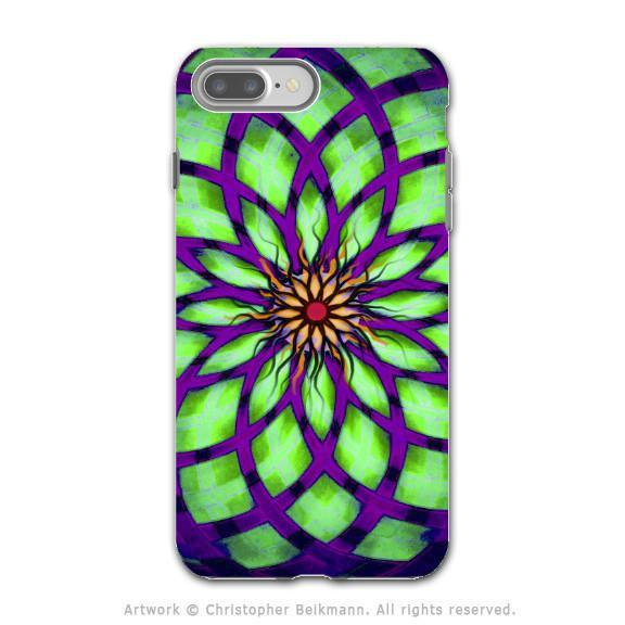 Lime Green and Purple Geometric Lotus Flower - Artistic iPhone 8 PLUS Tough Case - Dual Layer Protection - Lime Kalotuscope - iPhone 8 Plus Tough Case - Fusion Idol Arts - New Mexico Artist Christopher Beikmann