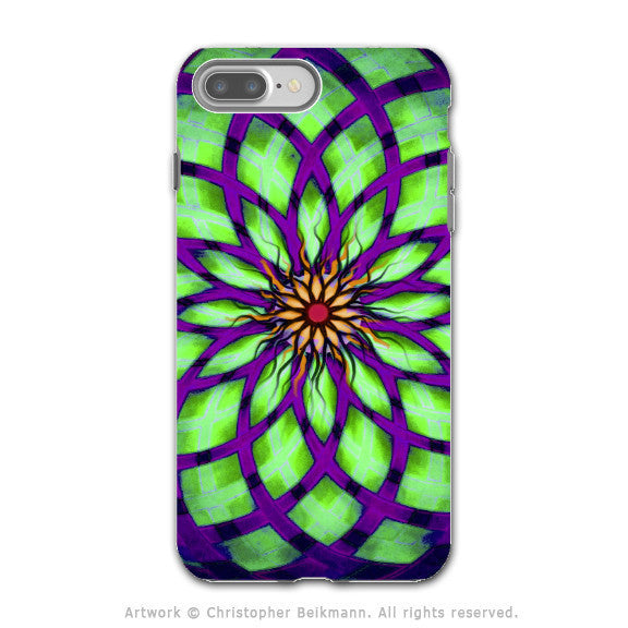 Lime Green Lotus Flower - Artistic iPhone 7 PLUS - 7s PLUS Tough Case - Dual Layer Protection - Lime Kalotuscope - iPhone 7 Plus Tough Case - Fusion Idol Arts - New Mexico Artist Christopher Beikmann