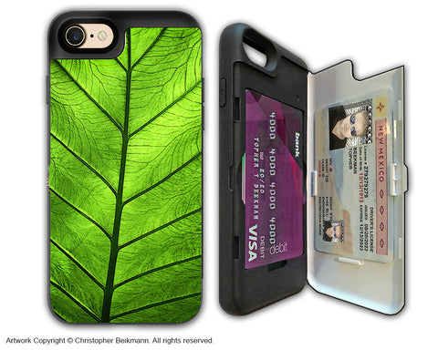Tropical Green Leaf - Artistic Apple iPhone 7 Card Holder Case - Protective Wallet Case - leaf of knowledge - iPhone 7 Card Holder Case - Fusion Idol Arts - New Mexico Artist Christopher Beikmann