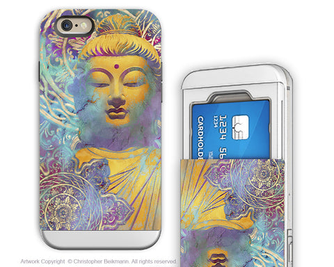 Colorful Pastel Buddha art - Artistic iPhone 6 6s Case - Cardholder Case - Light of Truth - iPhone 6 6s Card Holder Case - Fusion Idol Arts - New Mexico Artist Christopher Beikmann