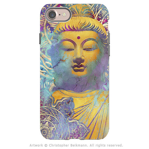 Colorful Pastel Buddha art - Artistic iPhone 8 Tough Case - Dual Layer Protection - Light of Truth - iPhone 8 Tough Case - Fusion Idol Arts - New Mexico Artist Christopher Beikmann