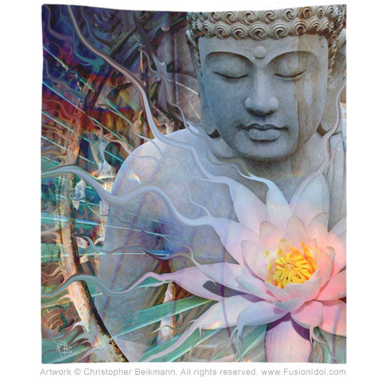 Living Radiance Buddha Tapestry - Tapestry - Fusion Idol Arts - New Mexico Artist Christopher Beikmann