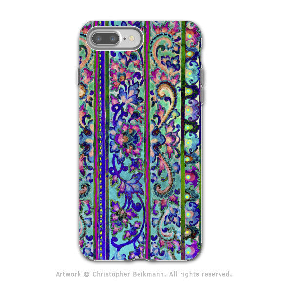 Colorful Floral Line Art - Artistic iPhone 7 PLUS - 7s PLUS Tough Case - Dual Layer Protection - Malaya - iPhone 7 Plus Tough Case - Fusion Idol Arts - New Mexico Artist Christopher Beikmann