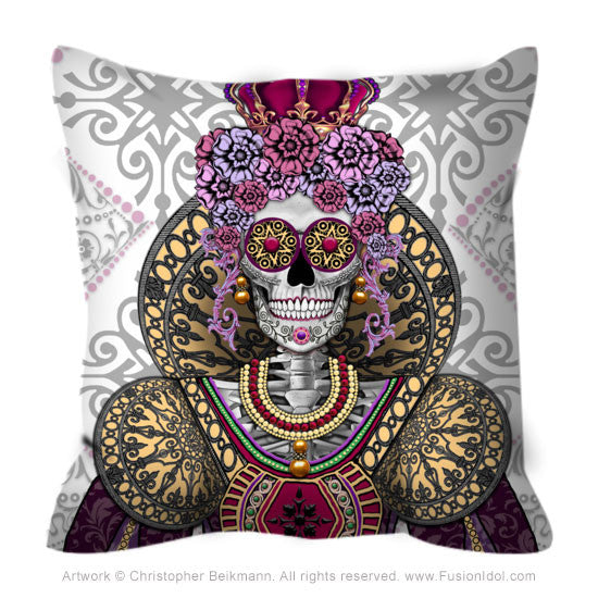 Renaissance Sugar Skull Queen Pillow - Mary Queen of Skulls - Throw Pillow - Fusion Idol Arts - New Mexico Artist Christopher Beikmann