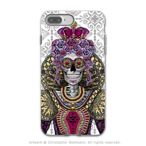 Sugar Skull Renaissance Queen - Artistic iPhone 7 PLUS - 7s PLUS Tough Case - Dual Layer Protection - Mary Queen of Skulls - iPhone 7 Plus Tough Case - Fusion Idol Arts - New Mexico Artist Christopher Beikmann