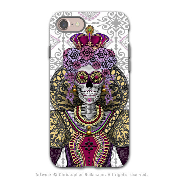 Mary Queen of Skulls - Sugar Skull iPhone 8 Tough Case - Dual Layer Protection - Day of the Dead Case - iPhone 8 Tough Case - Fusion Idol Arts - New Mexico Artist Christopher Beikmann