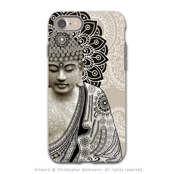 Paisley Buddha Apple iPhone 8 Tough Case - Dual Layer Protection - Meditation Mehndi - iPhone 8 Tough Case - Fusion Idol Arts - New Mexico Artist Christopher Beikmann