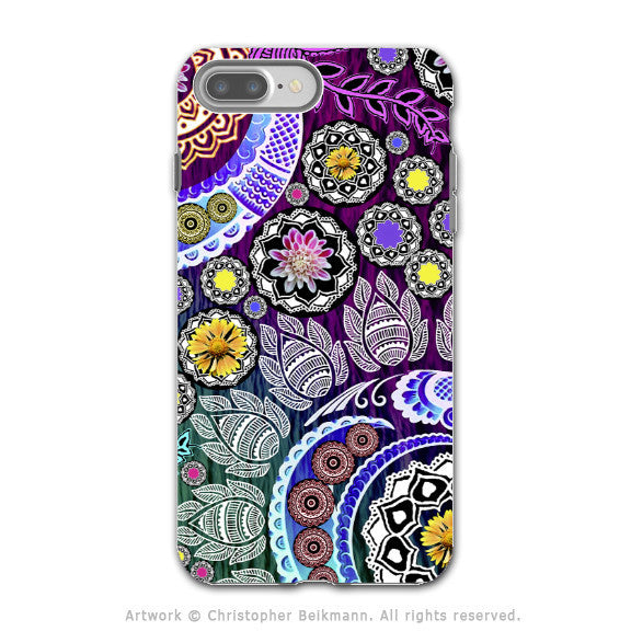 Purple Paisley Floral iPhone 7 PLUS - 7s PLUS Case - Dual Layer Protection - Artistic 7 Plus Case - Mehndi Garden - iPhone 7 Plus Tough Case - Fusion Idol Arts - New Mexico Artist Christopher Beikmann