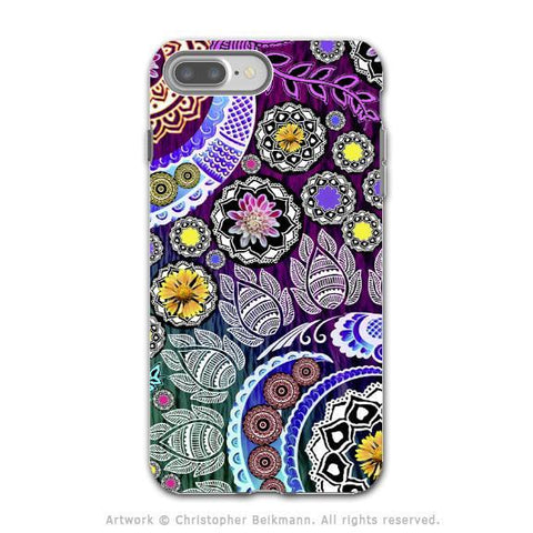 Purple Paisley Floral iPhone 8 PLUS Case - Dual Layer Protection - Artistic 8 Plus Case - Mehndi Garden - iPhone 8 Plus Tough Case - Fusion Idol Arts - New Mexico Artist Christopher Beikmann