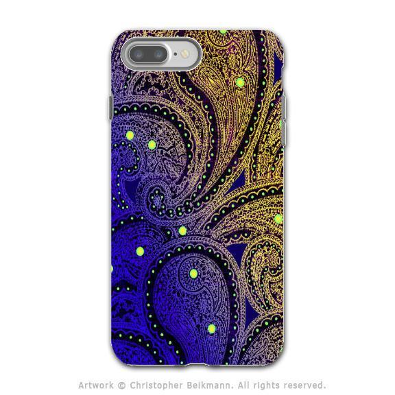 Purple Paisley - Artistic iPhone 8 PLUS Tough Case - Dual Layer Protection - Midnight Astral Paisley - iPhone 8 Plus Tough Case - Fusion Idol Arts - New Mexico Artist Christopher Beikmann