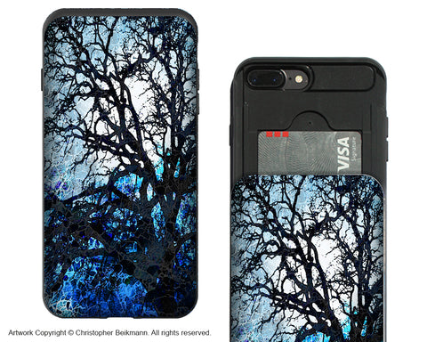 Blue Tree Silhouette Apple iPhone 7 Plus Card Holder Case - Wallet Compartment Case - iPhone 7 Plus Card Holder Case - Fusion Idol Arts - New Mexico Artist Christopher Beikmann