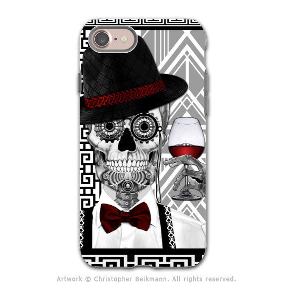 Art Deco Sugar Skull - Artistic iPhone 8 Tough Case - Dual Layer Protection - Mr JD Vanderbone - iPhone 8 Tough Case - Fusion Idol Arts - New Mexico Artist Christopher Beikmann