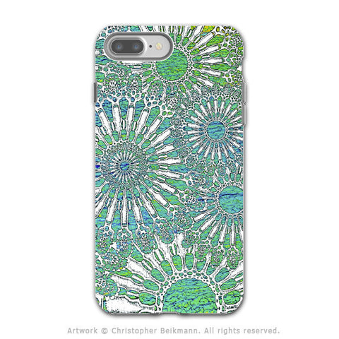 Turquoise Sea Urchin - Artistic iPhone 7 PLUS - 7s PLUS Tough Case - Dual Layer Protection - Ocean Lace - iPhone 7 Plus Tough Case - Fusion Idol Arts - New Mexico Artist Christopher Beikmann
