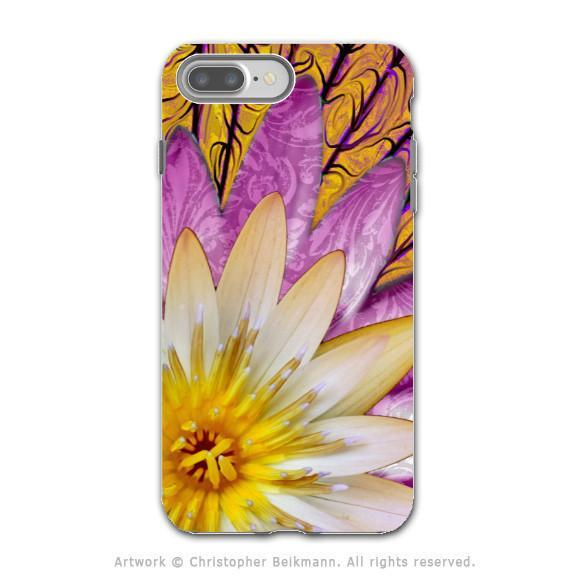 Orange Lotus Blossom - Artistic iPhone 8 PLUS Tough Case - Dual Layer Protection - Sun Bloom - iPhone 8 Plus Tough Case - Fusion Idol Arts - New Mexico Artist Christopher Beikmann