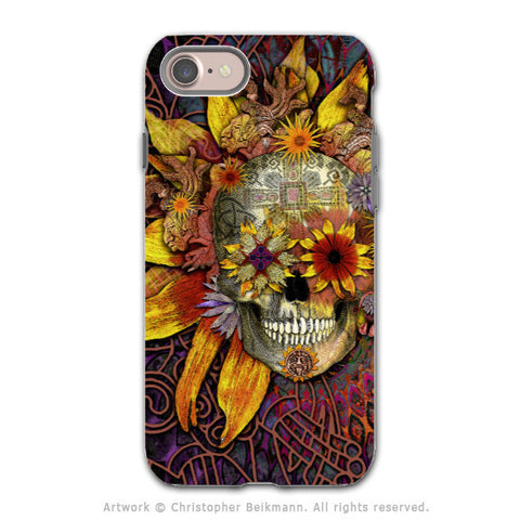 Sunflower Sugar Skull iPhone 8 Tough Case - Dia De Los Muertos Art - Origins Botaniskull - iPhone 8 Tough Case - Fusion Idol Arts - New Mexico Artist Christopher Beikmann