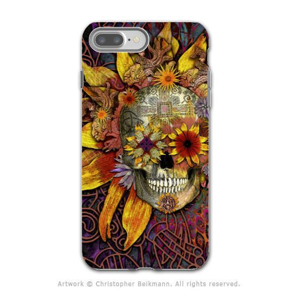 Floral Sugar Skull - Artistic iPhone 8 PLUS Tough Case - Dual Layer Protection - Origins Botaniskull - iPhone 8 Plus Tough Case - Fusion Idol Arts - New Mexico Artist Christopher Beikmann