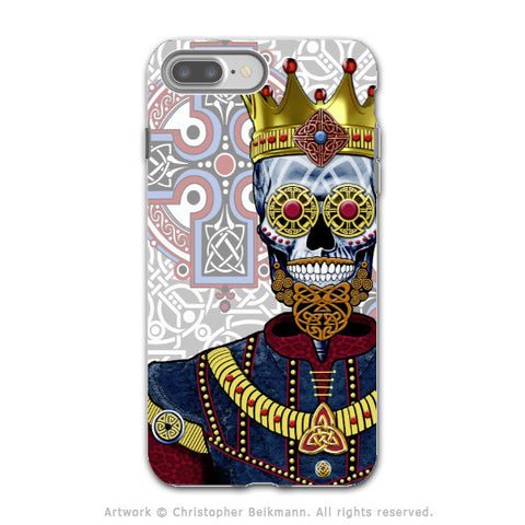 Sugar Skull Renaissance King - Artistic iPhone 7 PLUS - 7s PLUS Tough Case - Dual Layer Protection - O'Skully King of Celts - iPhone 7 Plus Tough Case - Fusion Idol Arts - New Mexico Artist Christopher Beikmann