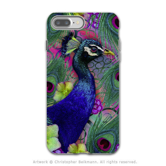 Colorful Peacock Floral - Artistic iPhone 7 PLUS - 7s PLUS Tough Case - Dual Layer Protection - Nemali Dreams - iPhone 7 Plus Tough Case - Fusion Idol Arts - New Mexico Artist Christopher Beikmann