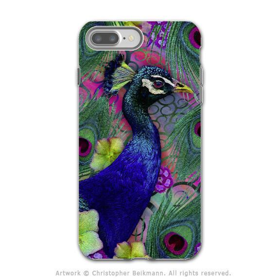 Colorful Peacock Floral - Artistic iPhone 8 PLUS Tough Case - Dual Layer Protection - Nemali Dreams - iPhone 8 Plus Tough Case - Fusion Idol Arts - New Mexico Artist Christopher Beikmann