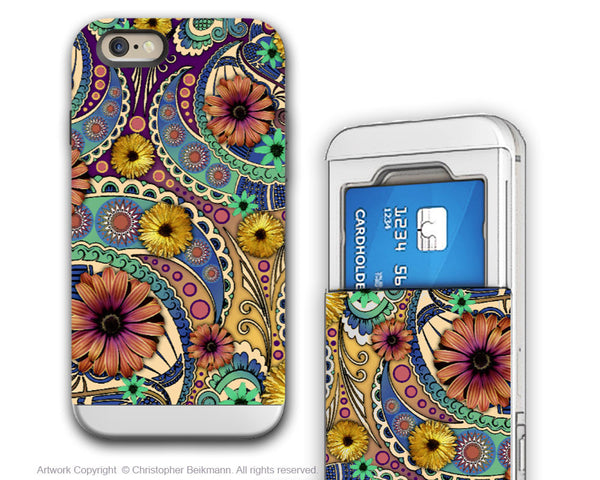 Colorful Paisley Daisy Art - Artistic iPhone 6 6s Case - CARD HOLDER CASE - Petals and Paisley - iphone 6 6s Card Holder Case - Fusion Idol Arts - New Mexico Artist Christopher Beikmann
