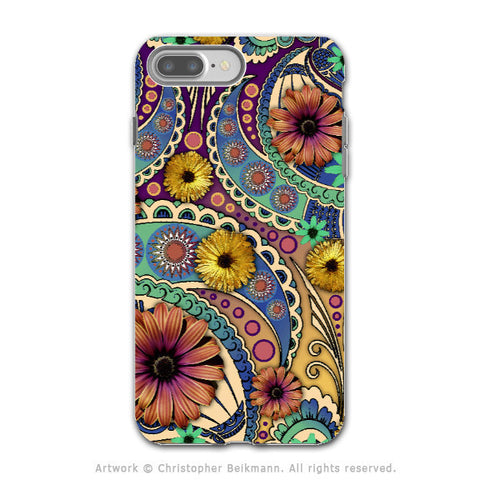 Colorful Paisley Daisy Art - Artistic iPhone 7 PLUS - 7s PLUS Tough Case - Dual Layer Protection - Petals and Paisley - iPhone 7 Plus Tough Case - Fusion Idol Arts - New Mexico Artist Christopher Beikmann