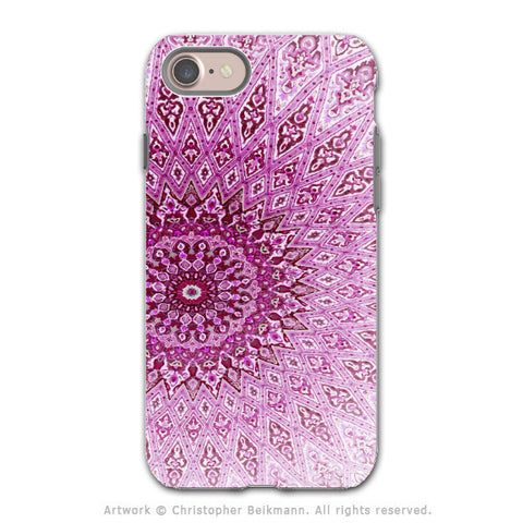 Pink Zen Mandala - Artistic iPhone 8 Tough Case - Dual Layer Protection - Rose Mandala - iPhone 8 Tough Case - Fusion Idol Arts - New Mexico Artist Christopher Beikmann