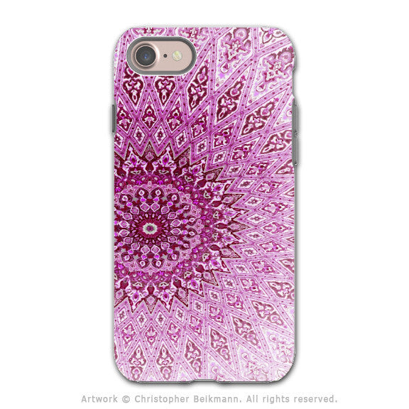 Pink Zen Mandala - Artistic iPhone 7 Tough Case - Dual Layer Protection - Rose Mandala - iPhone 7 Tough Case - Fusion Idol Arts - New Mexico Artist Christopher Beikmann