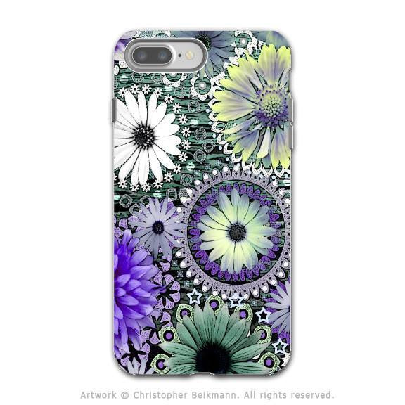 Purple Paisley Floral - Artistic iPhone 8 PLUS Tough Case - Dual Layer Protection - Tidal Bloom - iPhone 8 Plus Tough Case - Fusion Idol Arts - New Mexico Artist Christopher Beikmann