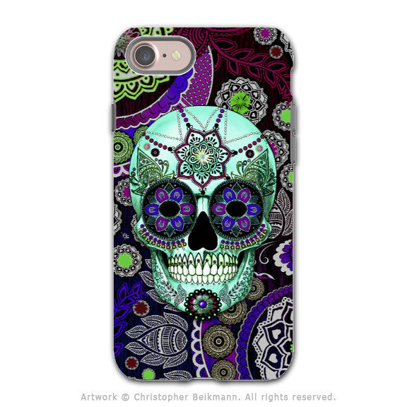 Purple Paisley Sugar Skull - Artistic iPhone 8 Tough Case - Dual Layer Protection - Sugar Skull Sombrero Night - iPhone 8 Tough Case - Fusion Idol Arts - New Mexico Artist Christopher Beikmann