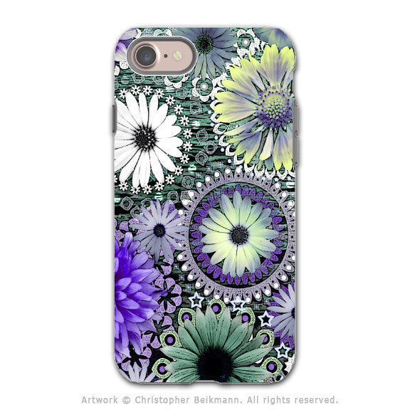 Purple Paisley Floral - Artistic iPhone 7 Tough Case - Dual Layer Protection - Tidal Bloom - iPhone 7 Tough Case - Fusion Idol Arts - New Mexico Artist Christopher Beikmann